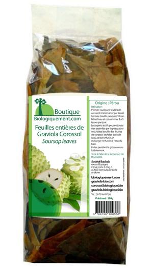 Cliquez su le sachet pour acheter des feuilles de graviola corossol sur la boutique en ligne Biologiquement.com